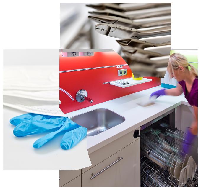 Collage aus Praxisdetails, Zahnarztbesteck, Sterilisationsraum