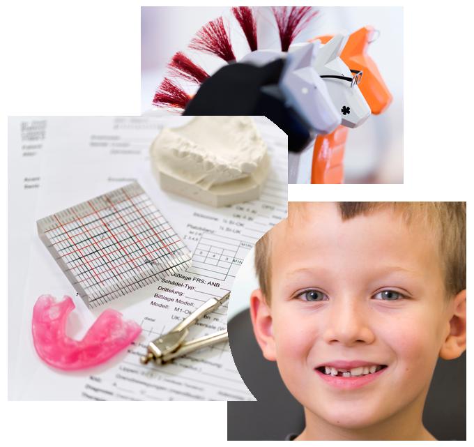 Collage aus Praxisimperssionen und Pantientenjunge mit Zahnfehlstellung