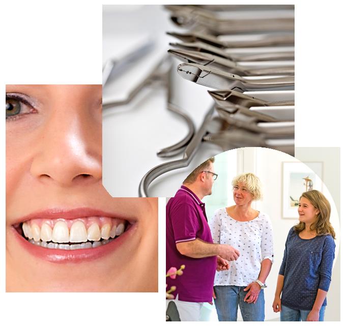Collage aus Zahnarztbesteck, Lächeln und Patientengespräch