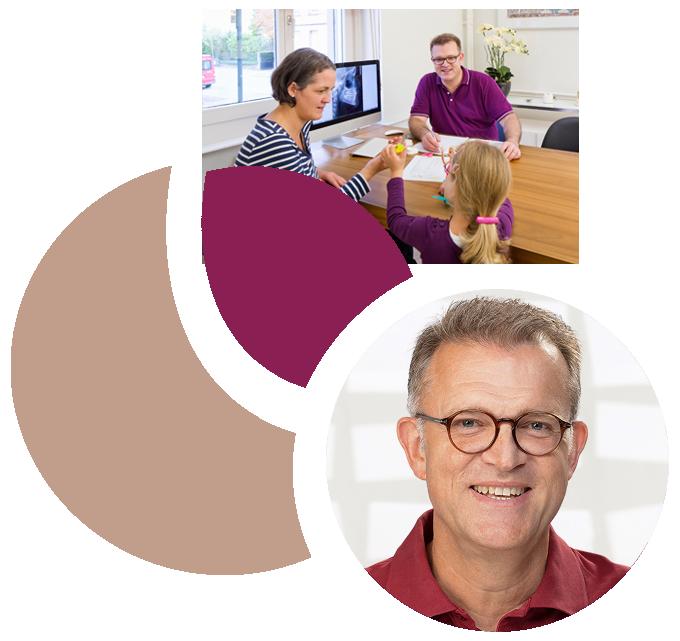Collage aus Patientengespräch und Portrait Dr. Nitschke, Kieferorthopäde